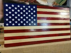 American Wooden Flag 13x24 Rustic FlagFree Shipping USA.Natural Wood Stripes #2