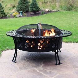 Sunnydaze 40 Inch Diamond Weave Large Fire Pit with Spark Screen The weave desig