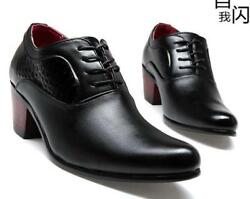 mens High cuban Heel lace up oxford pointed toe business dress formal Shoes Boot $56.48