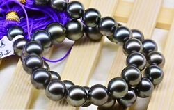 stunning 10-12mm Tahitian round peacock green pearl necklace 19