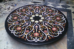 3'x3' Marble Dining Center Table Top Rare Mosaic Floral Inlaid Home Decor H1974