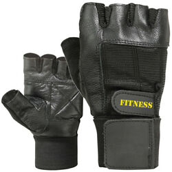 Cowhide Leather Fitness Wrist Support Weight Lifting Fingerless Gym Gloves $8.99