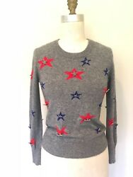 CHANEL Paris Dallas Three Color Stars Long Sleeve Knit Grey Cashmere Sweater.40