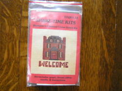 Spare Time Kits COLONIAL HOUSE WELCOME Mini Beginner Counted Cross Stitch Kit $6.99