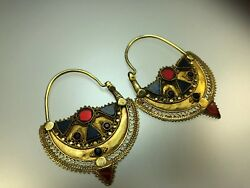 Antique Ancient Large Solid Gold Earrings with Colorful Glass Work