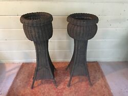 Antique Rattan Wicker Porch Planters!