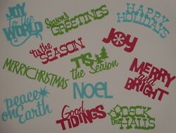 12 Christmas words RED GREEN TURQUOISE scrapbooking die cuts greeting card $1.29