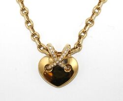 Chaument Liens Diamond X Heart Cluster Necklace Pendant 18K Yellow Gold .22Ct