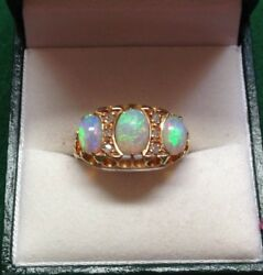 18CT Yellow Gold Carved 3 Stone Opal and Diamond Ring Size O12