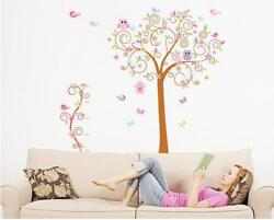 Large Owl Tree Wall Stickers Kids Bedroom Background Decor Household Adornment $24.37