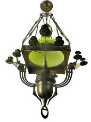 Impressive Chandelier Arts & Crafts Bauhaus Art Deco Brass Yellow Opaline Shade