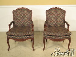 23271E: Pair CENTURY French Louis XIV Open Arm Fauteuil Open Arm Chairs $595.00