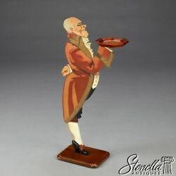 20994: Hand Paint Decorated Standing Butler W Burl Walnut Tray ~ FREE SHIPPING