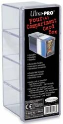 Plastic Card Storage Box Four Compartment Ultra Pro GAMING SUPPLY BRAND NEW $6.99