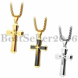 Polished Stainless Steel Men Women Cross Crucifix Pendant Necklace Chain 22