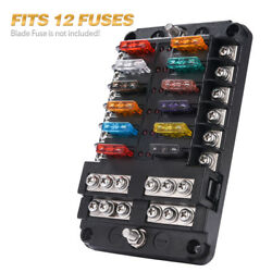 12-Circuit Blade Fuse Block Box Holder LED Cover  Durable Protection