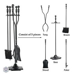 Fireplace Tools Indoor Outdoor Kit 5 Pcs Rustic Set Iron Accessories for Room