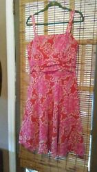 COLDWATER CREEK SZ 16 DARK CORAL PINK & WHITE FLORAL SUNDRESS