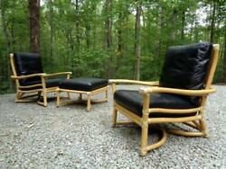 Mid Century modern McGuire Vintage Bamboo & Leather Lounge Chairs & Ottoman