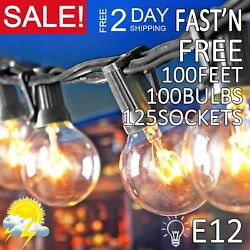 1250 PCS Clear Bulb Patio String Light 100FT G50 Outdoor Garden Globe Party ZM