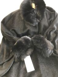 Blue Duck Alpaca Wool Cape with Dyed Fox Trim - NWT wmatching Gloves