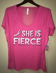 NWT Ideology Plus Size 1X Graphic She is Fierce Athletic Top Cancer Awareness
