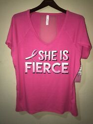 NWT Ideology Plus Size 3X Graphic She is Fierce Athletic Top Cancer Awareness