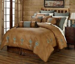 Western Cabin Country Bedding Decor Comforter Set Brown Turquoise Cross