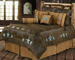 Western Cabin Country Bedding Decor Comforter Set Brown Triple Star Sheet Option