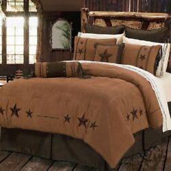 Western Cabin Country Bedding Decor Comforter Set Brown Tn Triple Star Sheet Opt