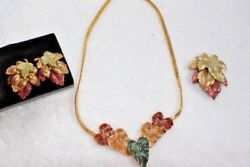 Gold Tone Matching Necklace Stud Earrings Pin in Beautiful Fall Colors