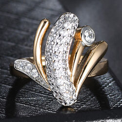 Flower Silver & Gold Filled Crystal Rhinestone Women Lady Engagement Band Ring