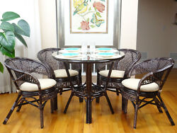 Pelangi Rattan Wicker Set of 4 Chairs wCushion and Round Dinning Table
