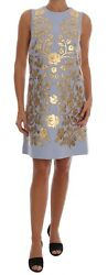 NEW $6300 DOLCE & GABBANA Dress Blue Wool Gold Floral Leather Crystal IT42US8M