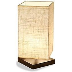 Simple Table Lamp Bedside Desk Fabric Shade Solid Wood Bedroom Dresser Living
