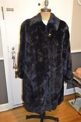 David Leinoff navy blue horizontal pelt sheared mink fur swing coat L XL 1x 2x?