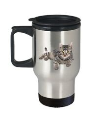 Grey Tabby Cat Travel Mug Funny Insulated Tumbler Novelty Birthday... $17.95