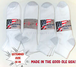 6 12 Pairs Big Mens Extended Size 12 16 Soft Cotton Blend White Ankle Socks US $17.98
