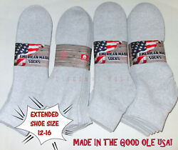 6 12 Pairs Big Mens Extended Size 12 16 Soft Cotton Blend Gray Ankle Socks US $17.98