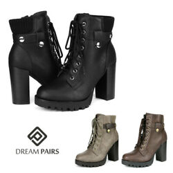 DREAM PAIRS Womens Lace Up Side Zip Ankle Boots Chunky High Heel Booties $29.13