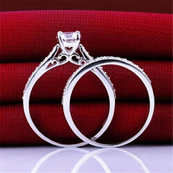 2PcsSet Women Engagement Wedding Cubic Zirconia 925 Silver Plated Ring Gift
