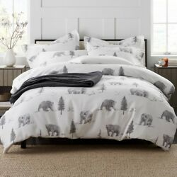 Bear Tracks Full Duvet Cover Holiday Soft Flannel Snowy Forest Home Cabin Decor