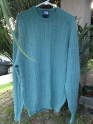 CLAN DOUGLAS NORDSTROM Made In Scotland Green Cable-Knit 100% Cashmere Sweater L