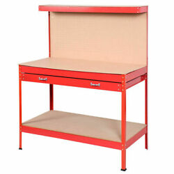 Red Work Bench Tool Storage Steel Tool Workshop Table W Drawer and Peg Board