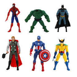 Set 6x Figure Batman Thor Spiderman Hulk Captain America Wolverine Doll Gift Boy