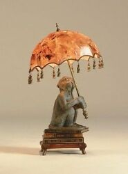 Maitland-Smith 8141-17 Monkey on Books Desk Lamp Inlaid Penshell Shade