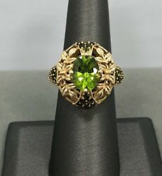 14k Yellow Gold Floral Design with Green Stones
