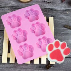 6 cavity Ice Cube Mold Silicone Cat Paw Cookie Cake Candy Chocolate Mold Pink L