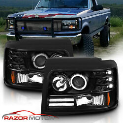 1992-1996 Projector Black Headlight for Ford BroncoF150F250F350 [LED Halo]