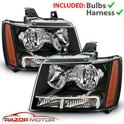 2007-14 Replacement Black Headlight Pair for Chevrolet Avalanche Subarban Tahoe